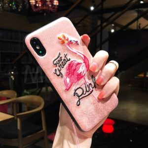 3D Embroidered Flamingo Pink Case