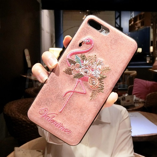 Embroidery Flamingo iphone Case