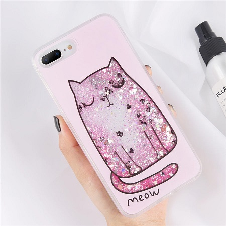 cute cat glitter iphone case