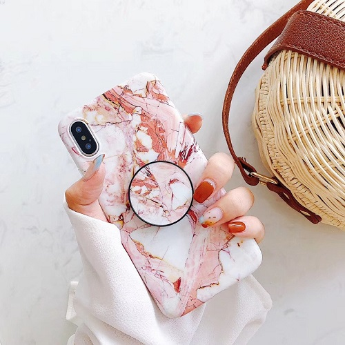 Marble phone case with popsocket