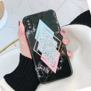 Pink and black marble case