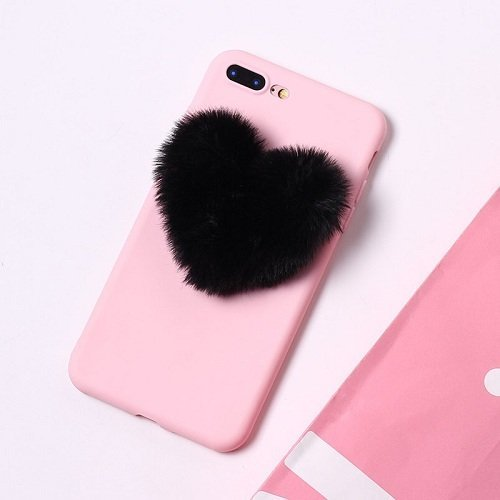 Fluffy heart phone case