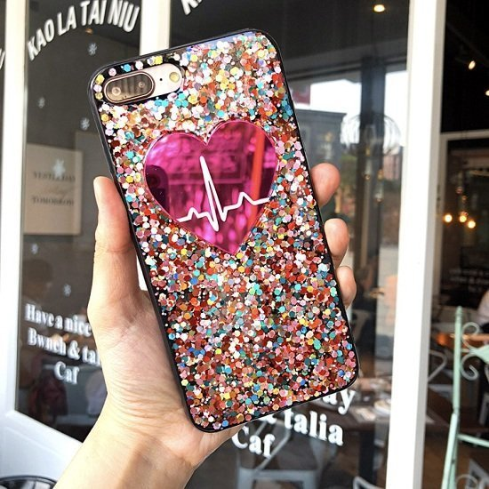 pink heart glitter phone case