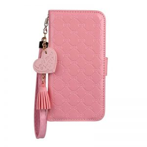 Pink Leather Wallet iPhone Case With Hand Strap