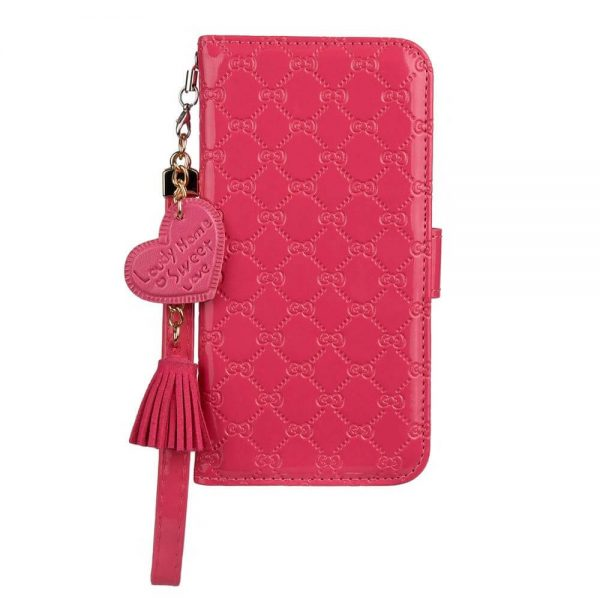 Rose red Leather Wallet iPhone Case With Hand Strap