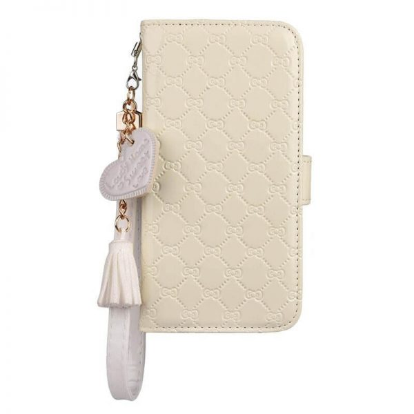 White Leather Wallet iPhone Case With Hand Strap