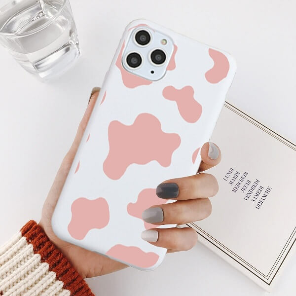 pink cow print phone case