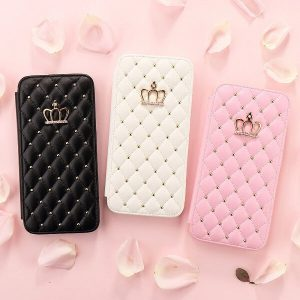 quilted jeweled princess crown flip wallet iPhone case