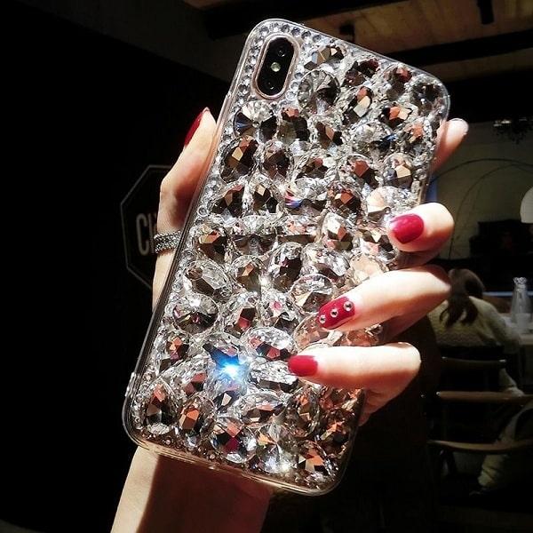 Silver Rhinestone Phone Case-min