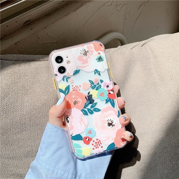 Pink Flower Clear iPhone Case