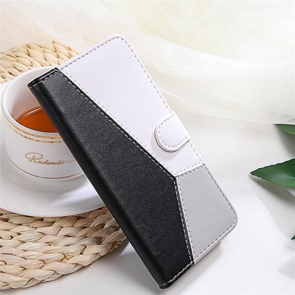 Black Geometric Flip Wallet Case With Card Holder