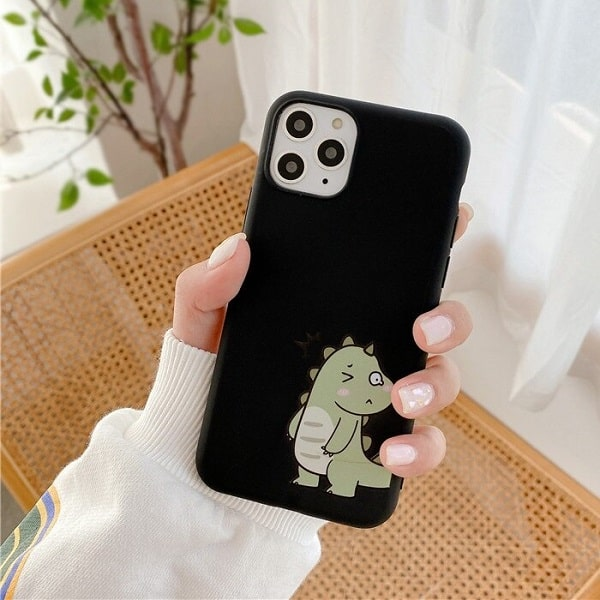 Black dinosaur phone case