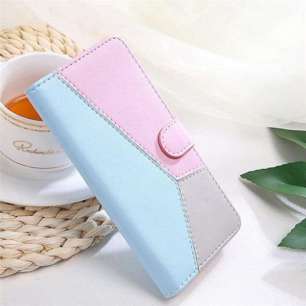 Blue Geometric Flip Wallet Samsung Phone Case