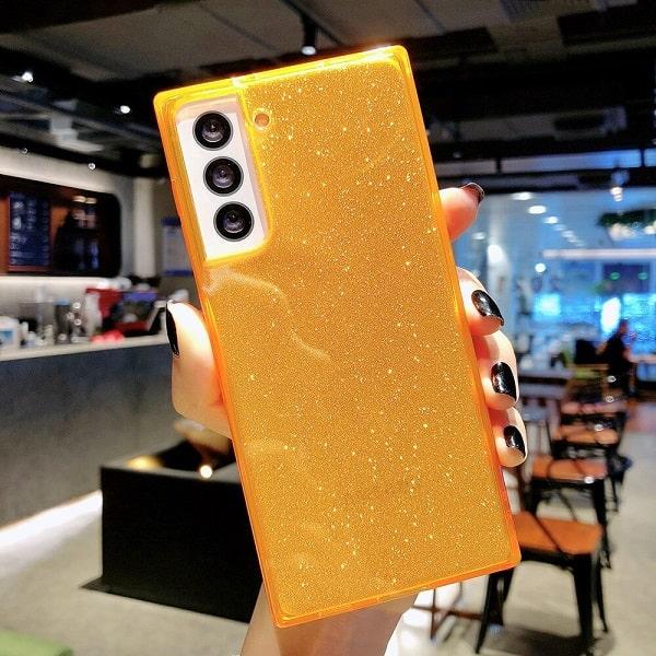 Orange Square Fluorescent Glitter Samsung Phone Case