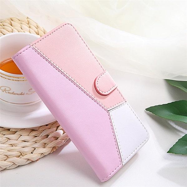 Pink Geometric Flip Wallet Case With Pocket