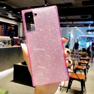 Pink Square Fluorescent Glitter Samsung Case