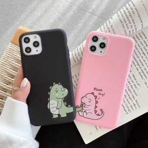 Pink and Black dinosaur phone case for couple