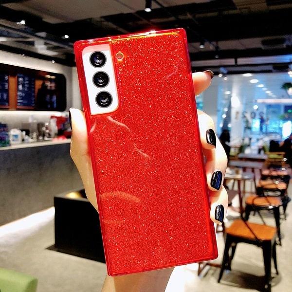 Red Square Fluorescent Glitter Phone Case