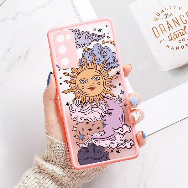 Sun and Moon Phone Case with pink color for samsung s20 s20 plus s20 ultra