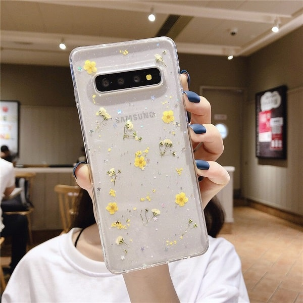 Yellow Pressed Flower Samsung Phone Case