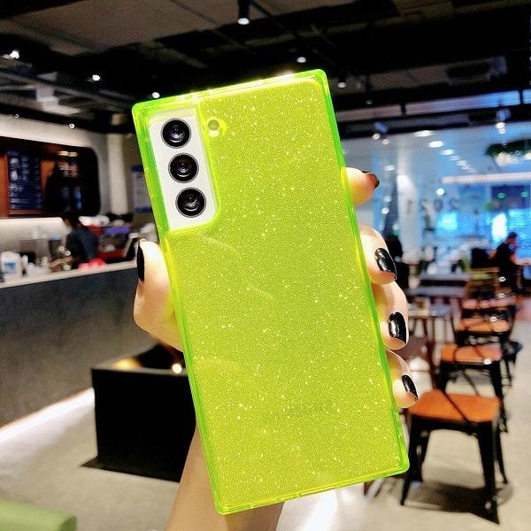 Yellow Square Fluorescent Glitter Samsung Case