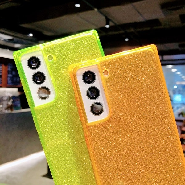 square fluorescent glitter clear phone case for Samsung Galaxy S20 Ultra, S20 Plus, S10