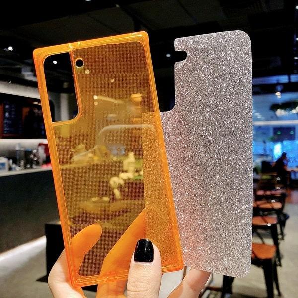 square fluorescent glitter clear phone case for Samsung Galaxy S21, S21 Ultra, S20 Plus, S10
