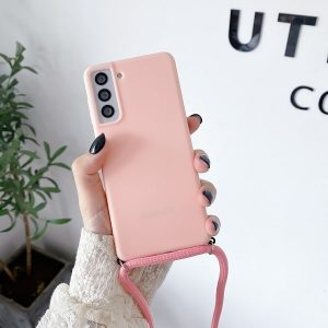 Pink phone case with crossbody